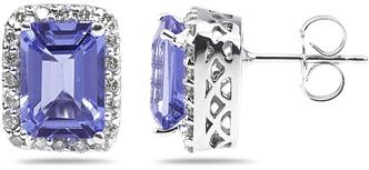 Buy Tanzanite and Diamond Earrings in 14K White Gold