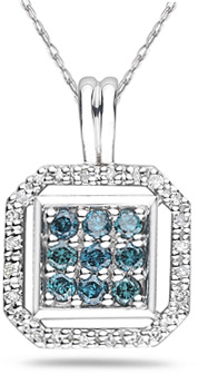 Buy Octagonal Blue and White Diamond Pendant