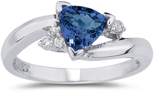Trillion-cut Sapphire and Diamond Ring (Apples of Gold)