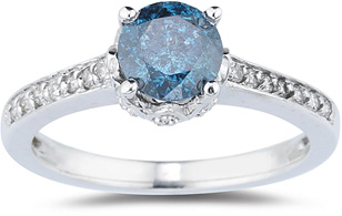 1.19 Carat Blue and White Diamond Ring, 14K White Gold