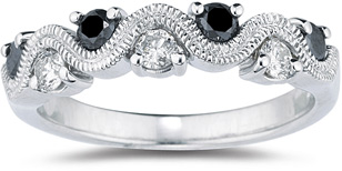 Buy 0.46 Carat S-Weave Black and White Diamond Band