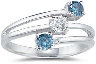 Three Stone Blue and White Diamond Ring, 14K White Gold