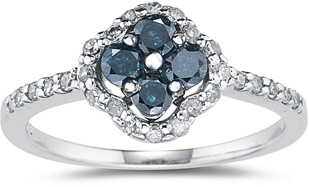 0.62 Carat Blue and White Diamond Flower Ring