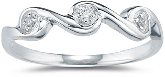 Three Stone Diamond Wave Band, White Gold
