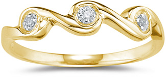 Three Stone Diamond Wave Band, Yellow Gold