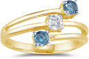 Three Stone Blue and White Diamond Ring, 14K Yellow Gold