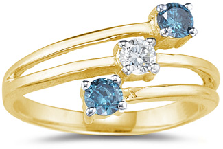 Buy Three Stone Blue and White Diamond Ring, 14K Yellow Gold