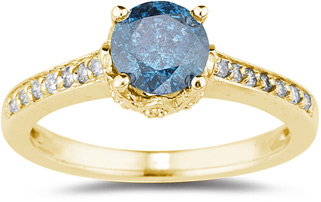 1.19 Carat Blue and White Diamond Ring, 14K Yellow Gold (Apples of Gold)