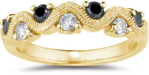 0.46 Carat S-Weave Black and White Diamond Band, 14K Yellow Gold