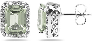 Green Amethyst and Diamond Earrings in 14K White Gold