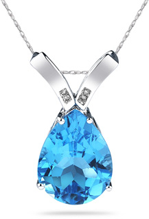 Blue Topaz Pear Shaped Diamond Pendant, 14K White Gold