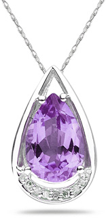 Pear Shaped Amethyst and Diamond Tear Drop Pendant