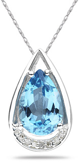 Pear Shaped Blue Topaz and Diamond Tear Drop Pendant