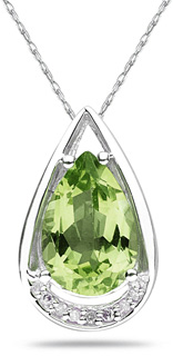 Pear Shaped Peridot and Diamond Tear Drop Pendant