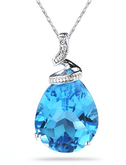 Blue Topaz Pear Shaped Gemstone and Diamond Pendant, White Gold