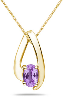 Oval Shaped Contemporary Amethyst Pendant