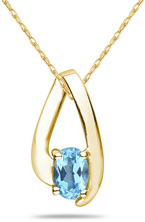 Oval Shaped Contemporary Blue Topaz Pendant