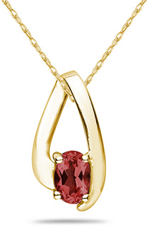 Oval Shaped Contemporary Garnet Pendant