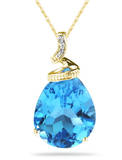 Blue Topaz Pear Shaped Gemstone and Diamond Pendant, Yellow Gold
