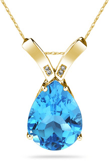 Blue Topaz Pear Shaped Diamond Pendant, 14K Yellow Gold