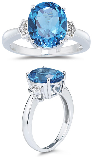 Buy 4.50 Carat Blue Topaz and Diamond Ring