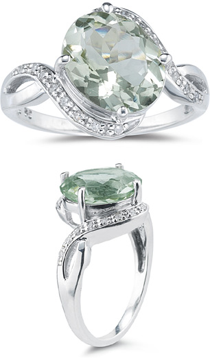 Buy 3.10 Carat Green Amethyst and Diamond Ring