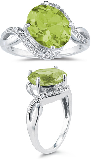 3.10 Carat Peridot and Diamond Ring
