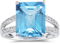 7.00 Carat Emerald Cut Blue Topaz and Diamond Ring