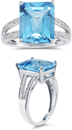 Buy 7.00 Carat Emerald Cut Blue Topaz and Diamond Ring