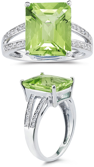 7.00 Carat Emerald Cut Peridot and Diamond Ring