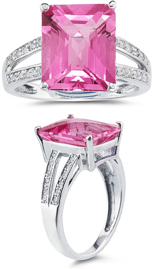 7.00 Carat Emerald Cut Pink Topaz and Diamond Ring