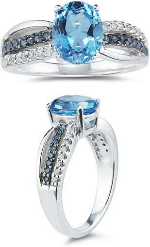 Blue and White Diamond and Blue Topaz Ring, White Gold