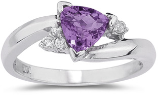 Trillion-Cut Amethyst and Diamond Ring