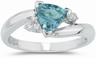 Trillion-Cut Aquamarine and Diamond Ring