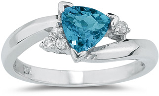 Trillion-Cut Blue Topaz and Diamond Ring