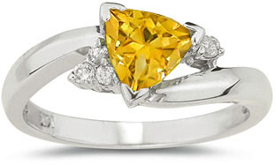 Trillion-Cut Citrine and Diamond Ring