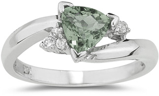 Trillion-Cut Green Amethyst and Diamond Ring