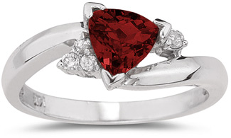 Trillion-Cut Garnet and Diamond Ring