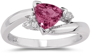 Trillion-Cut Pink Topaz and Diamond Ring