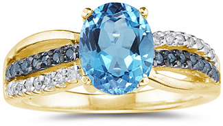 Buy Blue and White Diamond and Blue Topaz Ring, Yellow Gold
