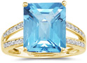 7.00 Carat Emerald Cut Blue Topaz and Diamond Ring, 10K Yellow Gold