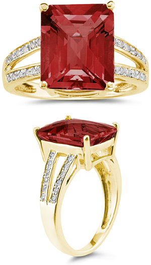 7.00 Carat Emerald Cut Garnet and Diamond Ring