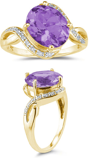3.10 Carat Oval Amethyst and Diamond Ring