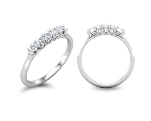 1/2 Carat 5-Stone Diamond Anniversary Band