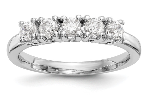 3/4 Carat 5-Stone Diamond Wedding Band for Women