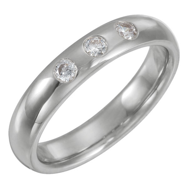 Three Stone 1/5 Carat Diamond Wedding Band Ring for Men