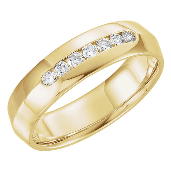 Knife-Edge Diamond Wedding Band Ring, 14K Yellow Gold (6mm)