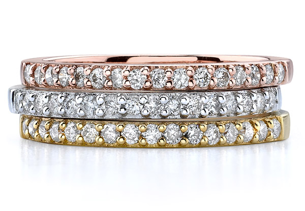 Set of 3 Tri-Color Gold Stackable 3/4 Carat Diamond Bands