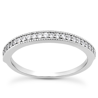 1/4 Carat Diamond Wedding Band Ring, 14K White Gold