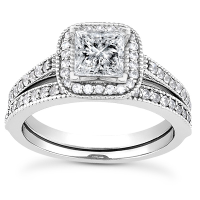1 1/2 Carat Princess-Cut Halo Engagement and Wedding Ring Set